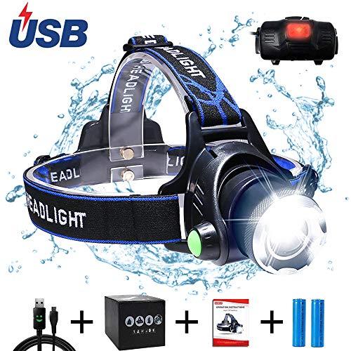 AUKELLY Faros delanteros USB recargable LED linterna frontal ...