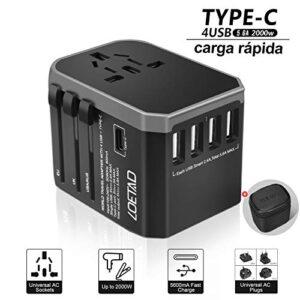 Adaptador de enchufe de viaje LOETAD 4 puertos USB 1 punta de puerto ...