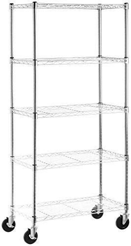 AmazonBasics - Librería con 5 estantes, con ruedas, cr ...