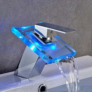 Auralum Led Glass Faucet Waterfall Lavabo grifo ...