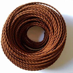 Cable trenzado vintage de 5 metros, 2 núcleos, color marrón ...