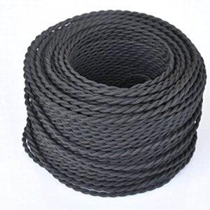 Cable trenzado vintage de 5 metros, 2 núcleos, negro, trenzado ...