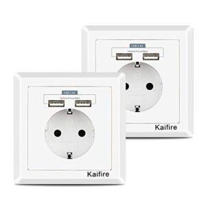 Enchufes con USB 2.4A, enchufe de pared Schuko con 2 puertos de EE. UU. ...