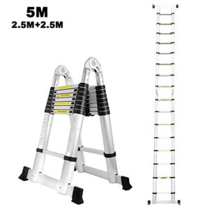 Escalera telescópica de aluminio de 5M, doble cara, 2.5M + 2 ...