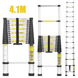 Finether 4.1M Escalera telescópica de aluminio, Escalera externa ...