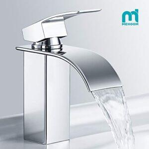 Grifo de lavabo para baño, grifo mezclador de cascada MEHOOM para ...