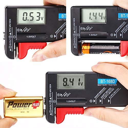 Hapurs - Medidor de voltaje de batería DK013, para baterías AA, A ...