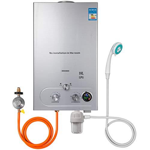 Husuper Calentador de agua LPG 18L 36KW Calentador de agua ...