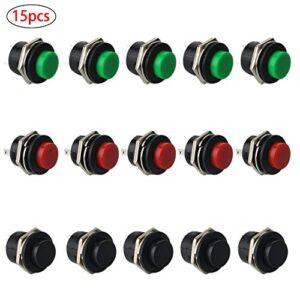 Interruptor de botón redondo RUNCCI 15Pcs SPST, 12V en ...