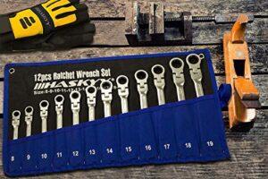 Juego de llaves de trinquete articuladas de 12 piezas I Juego de ...