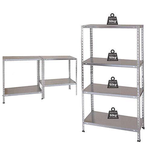 Kit de estantería de metal NAWA 137x70x30cm galvanizado 4 estantes ...