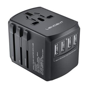 LENCENT Adaptador de enchufe de viaje universal, cargador de batería ...