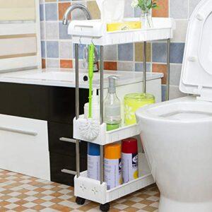 LIBHW Los estantes de baño con Ruedas móviles Aseo Baño Estant ...
