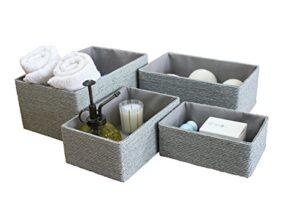 LJM Set de 4 cestas de almacenamiento, organizadores de almacenamiento ...