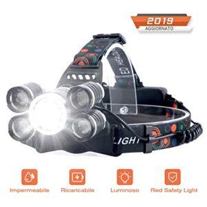 Linterna frontal recargable LED de alta potencia 10000 lúmenes, ...