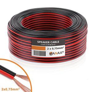 MANAX - Cable de altavoz (2 x 0,75 mm², CCA, rollo rojo / negro ...