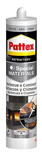 Pattex Barbacoas y chimeneas de silicona, gris, resistente al fuego ...