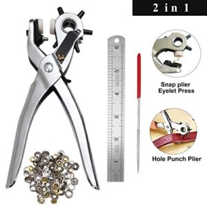 Punch Pliers (2 in 1) with 75 Eyelets and Leather File ...
