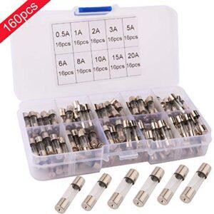 RUNCCI 160Pcs Fusibles de tubo de vidrio para automóvil, Kit de fusibles