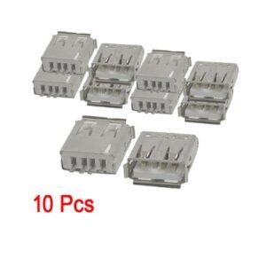 SODIAL (R) 10 x USB Tipo de soldadura de conector recto hembra