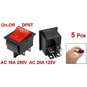 SODIAL (R) 5 x Interruptor basculante iluminado rojo encendido / apagado ...