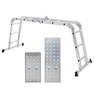 SONGMICS Escalera de aluminio multifuncional, máx. Carga de ...