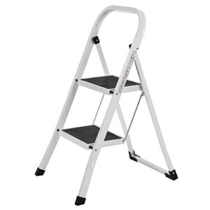 SONGMICS Ladder, Robusta escalera plegable 2 escalones H ...