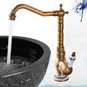 Saeuwtowy - Grifo antiguo para lavabo, cascada, latón, baño, cocina ...