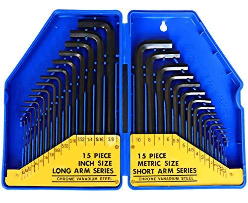 S&R Juego de 30 llaves Allen hexagonales en pulgadas y mili ...