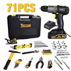 Taladro Destornillador 18 V, Caja de herramientas TECCPO 71 piezas ...