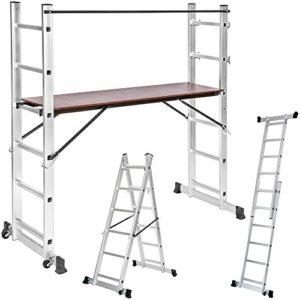 TecTake Ladder 3 en 1 combinación multipropósito de aluminio ...