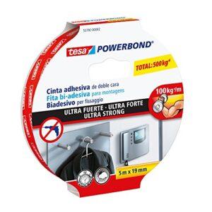 Tesa Powerbond Cinta adhesiva de doble cara ultrarresistente (5m x 1 ...
