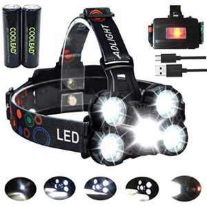 Trabajo recargable de faros LED, 8000 lúmenes, 4 ...