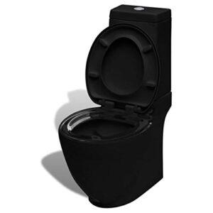 inodoro cuadrado de cerámica negra vidaXL