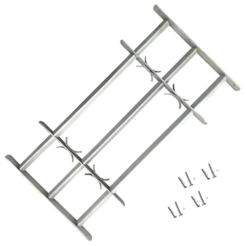 vidaXL Adjustable Window Security Grille with 2 Trave ...