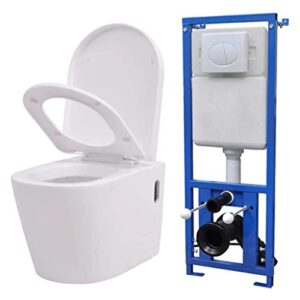 vidaXL Cisterna para colgar inodoro Cerámica blanca oculta ...