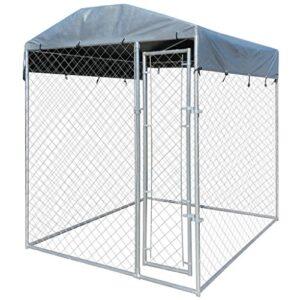vidaXL Perrera exterior con toldo de acero galvanizado 2x2 m ...