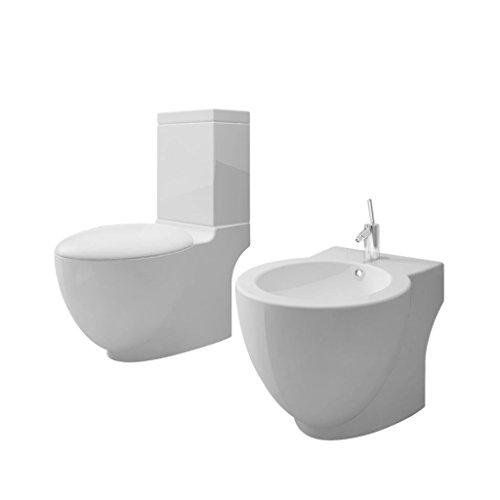 vidaXL Set de inodoro y bidé, piso, piso de cerámica, inodoro blanco ...
