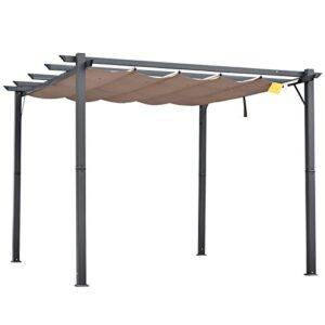 Outsunny Pérgola de Aluminio Gazebo Cenador 3x3m para Jardín...