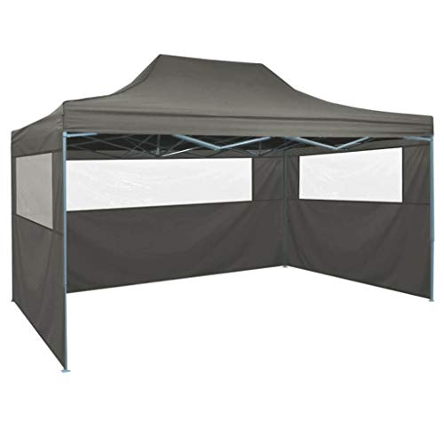 vidaXL Carpa Pleglable 3 Paredes 3x4,5 m Gris Antracita Told...